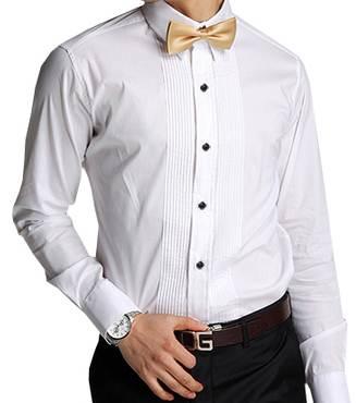 เสื้อเชิ้ตแขนยาว คอปก ทักซิโด้ Size No.37 38 39 40 41 42 43 44 45 (ขาว)