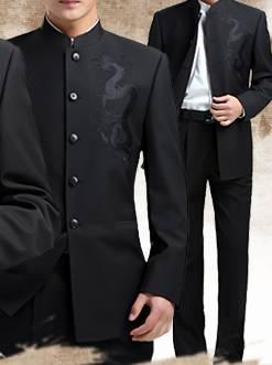 สีพิเศษ!!ชุดสูท คอจีนกระดุมดำ เสื้อ+กางเกง Size No.36 38 40 42 44 46 ดำมังกร
