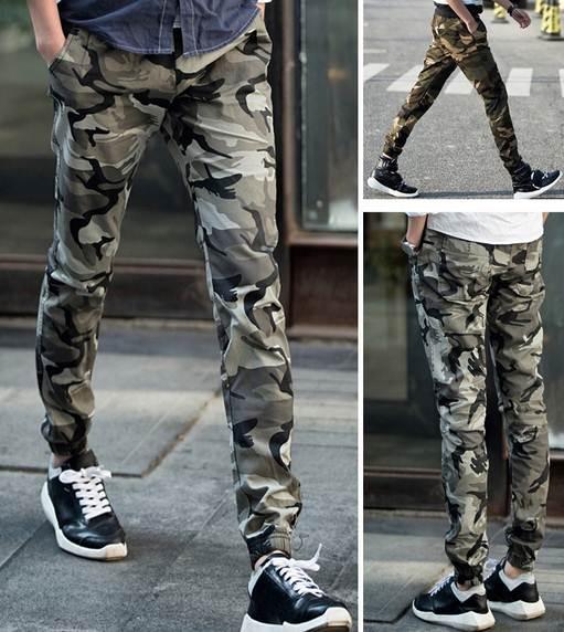 เล็ก+ กางเกงทหารขาจั๊ม ลายพราง เอวจั๊ม รูด สีเทา เขียว size 32-35