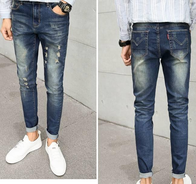 กางเกงยีนส์ 5 ส่วน แฟชั่น พับขา แต่งขาด เอว No.31-32 น้ำเงินเก่า
