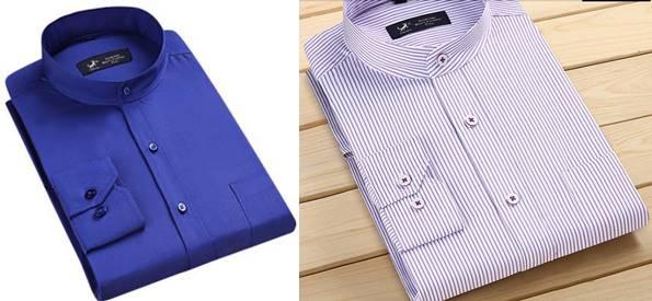 4สีใหม่ใหญ่พิเศษ!!เสื้อเชิ้ตแขนยาว คอจีน ทรงปกติ size No.38 39 40 41 42 43 44 45 46 47 48 สีม่วง ชมพู แดง ฟ้า
