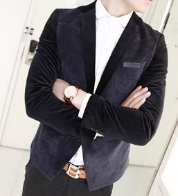 เสื้อสูทแฟชั่น สลิมฟิต กำมะหยี่ตัดลูกฟูก ดีไซน์พิเศษ Size No.35 น้ำเงิน