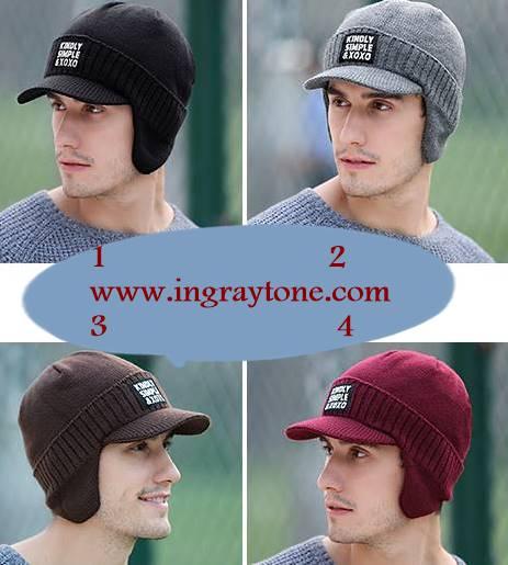 หมวกไหมพรมกันหนาว +หมวกแก๊บมีปีก ปิดหู สีเทา ดำ แดง น้ำตาล