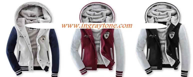 ShockPrice!!เสื้อหนาวมีฮู้ด เบสบอล เสื้อคลุมมีฮู้ด hood Lambo สีแดง No. 40 42 44