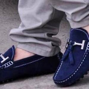 หลากสี!!รองเท้า loafer รองเท้าหนังคัทชู แบบพู่ C1 สีน้ำเงิน No.40