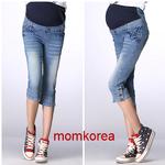 PK11003 กางเกงยีนส์คนท้อง แฟชั่นเกาหลี ห้าส่วน มีผ้าพยุงท้อง ผ้ายีนส์เนื้อดี งานคุณภาพค่ะ ใส่แล้วรับรองน่ารักมากๆ ค่ะ