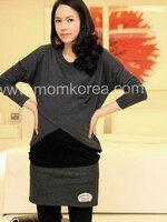 MK181 เสื้อให้นมแฟชั้นเกาหลี 2 in 1 โทนสีเทา ตัวในสีดำ แขนยาว สามารถเปิดให้นมน้องได้ เนื้อผ้านิ่มมากๆ ค่ะ ใส่สบาย