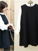 K10884 เสื้อคลุมท้องใส่ทำงาน โทนสีดำ แขนสีขาว เหมาะกับใส่ทำงานดูเรียบหรูดีค่ะ ใส่สวยมากๆ ค่ะ